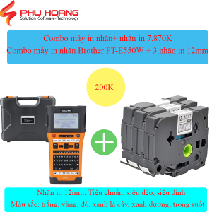 Combo Brother PT E550W va 3 nhan in 12mm