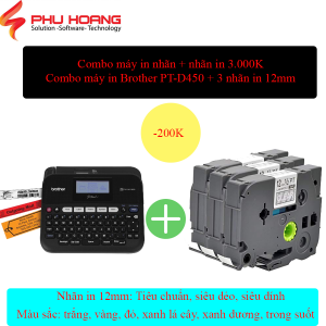 combo Brother PT D450 va 3 nhan in 12mm